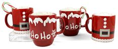 Vinyl Christmas Mugs Santa and Ho Ho Snowflakes