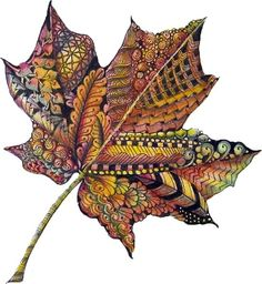 Gorgeous zentangle leaf color