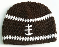Football Beanie Newborn Baby hat Crochet Baby Brown by inamood, $15.00 now comes in pink too for your little football sweetie