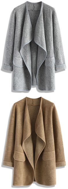 Get cozy, warm and chic in our Just Knitted open coat! With its mid-weight woven fabric, wide lapels, and an open front—this open coat makes for a warm and incredibly stylish look this fall!