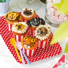 Des cupcakes en forme d'animaux // animals cupcakes, cute, yummy, dessert, kids, party