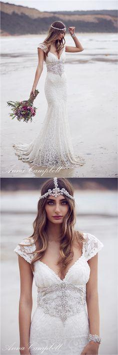 Anna Campbell figurbetonte V-Ausschnitt Brautkleider mit Spitze und Pailletten für Vintage Hochzeit 2016