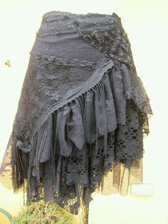 a work of art and across - vintage inspired extra shabby gothic cotton wrap skirt/shawl.a work of art and across Moda Steampunk, Steampunk Fashion, Gothic Fashion, Steampunk Skirt, Fashion Mode, Look Fashion, Beautiful Outfits, Cool Outfits, Gypsy Style