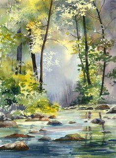 Artist: Elaine Ferdinandi, Title: 'Morning Light' A successful wet in wet background!