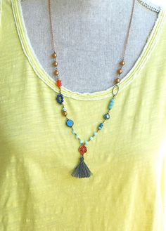 Blue bohemian beaded long tassel necklace. by tiedupmemories