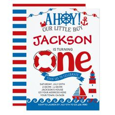 Shop Nautical First Birthday Invitation created by PrinterFairy. First Birthday Party Themes, Baby Boy 1st Birthday, 1st Birthday Invitations, Boy Birthday Parties, Summer Birthday, Baby Birthday, Birthday Ideas, Wedding Invitations, Personalized Note Cards