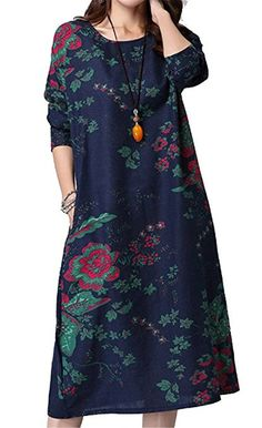YJWAN Fashion Womens Oversized Retro Floral Patterned Long Sleeves Shirt Dress * Discover this special product, click the image : Plus size dresses