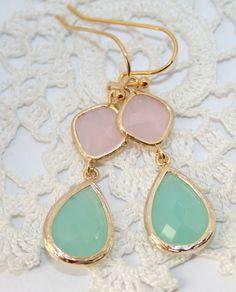 Mint Blue Pink Teardrop and Gold dangle Earrings, Cool mint Blue and pale Ice Pink bezel set double Drop Earrings ,Tiffany Blue Bridal. $29.00, via Etsy.