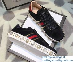 Gucci Ace Leather Studded and Pearl Velvet Sneakers Black 2017