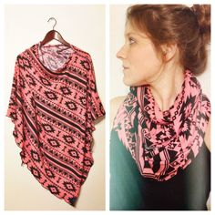 Southwestern Nursing Scarf /Poncho in Coral and Black Jersey Knit Infinity Scarf // Maternity