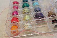 How to organize and tame your bobbins with a little pastic tubing. Great idea.