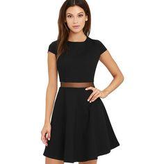 Legendary Lovers Black Skater Dress ($54) ❤ liked on Polyvore featuring dresses, black, skater skirts, round neck dress, cap sleeve dress, skater skirt dress and short cap sleeve dress