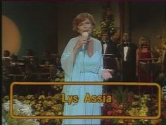 "Lys Assia on the 25th anniversary of the Eurovision Song Contest 1981 in Mysen, Norway, singing ""Refrain"""