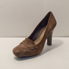 Nine West ALIMONA Brown Suede Leather Pump Shoe Stacked Heel Womens Size 6.5M #NineWest #PumpsClassics