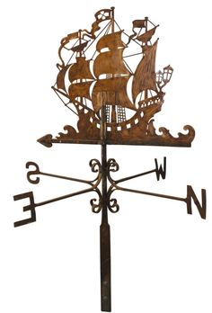 Weather vane w/letter directionals, Spanish Galleon, very detailed hand-cut & flattened copper, blackened on one side. on Nov 2008 Georges Chelon, Weather Vain, Spanish Galleon, Storefront Signs, Lightning Rod, Through The Looking Glass, Nautical Theme, Wood Carving, Wrought Iron