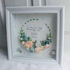 Mahar by Lavana Wedding 💙💙 Diy Flowers, Drying Flowers, Money Frame, Pop Up Frame, Coin Art, Wedding Proposals, Wedding Frames, Shadow Box, Wedding Designs