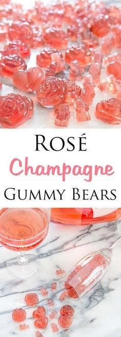 Rosé Champagne Gummy Bears - easy to make and perfect for parties or gifts. Candy Recipes, Dessert Recipes, Champagne Gummy Bears, Champagne Jello Shots, Champagne Cupcakes, Yummy Drinks, Yummy Food, Rose Champagne, Champagne Gifts