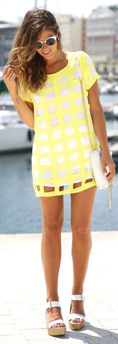Choies Neon Yellow And White Cutout Windowpane Mini Tee Dress by TrendyTaste. How cute @alir1104 @clarahope!