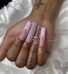 French Tip Acrylic Nails, Long Square Acrylic Nails, Acrylic Nails Coffin Short, Cute Acrylic Nails, Teen Nails, Girls Nails, Pink Nails, Cute Acrylic Nail Designs, Pink Nail Designs