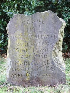 """Grave No 1 @StMikesCamb #SurreyHeath - John Stallwood. John was a """"Cordwainer"""" who lived in York Town (prior to the existance of Camberley). He was born in Marlow in 1812, and died on 15 June 1851, aged 69 years old."""