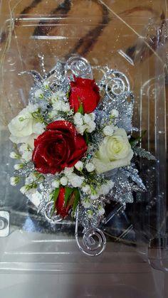 Red & white mini roses wrist corsage