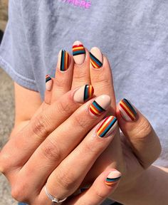 From negative space deckchair stripes and cherry prints, to rainbow reverse French tips and studded floral stickers, these are the Summer nail art designs every cool girl needs to know about. Cute Acrylic Nails, Cute Nails, Pretty Nails, Minimalist Nails, Nail Art Designs, Striped Nail Designs, Nails Design, Uñas Fashion, Striped Nails