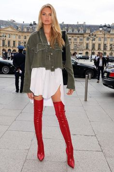 Romee Strijd wearing thigh high boots