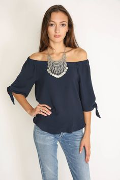 Sugar Lips Off-Shoulder Ruffle Knot Sleeve Top | South Moon Under