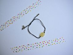 Black Strap with Yellow Jade Pearl and metal star