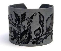 Silver Cuff Bracelet Polymer Clay Wide Cuff by PolymerPlayin.