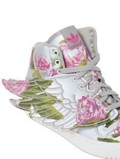 ADIDAS BY JEREMY SCOTT - JS WINGS LEATHER HIGH TOP SNEAKERS - LUISAVIAROMA - LUXURY SHOPPING WORLDWIDE SHIPPING - FLORENCE