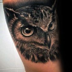 Black And Grey Ultra Realistic Guys 3d Owl Arm Tattoo Designs