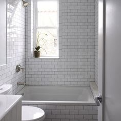 Contemporary Bathroom grey grout white tiles Design Ideas, Pictures, Remodel and Decor