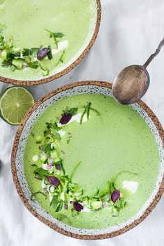 11 Cold Soup Recipes for Hot Summer Days #purewow #cooking #soup #food Healthy Spring Recipes, Summer Recipes, Healthy Summer, Cucumber Gazpacho, Cucumber Soup Cold, Green Gazpacho Recipe, Watermelon Soup, Gazpacho Soup, Creamed Cucumbers