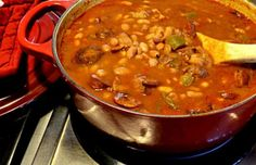 Portuguese Beans With Linguica Posted in: Soups / Stews Tue, Aug 2, 2016, 09:19:59, 1 Week ago          3 out of 5 with 22 ratings  hits: 29517 Ingredients  One Pound of pinto beans-presoaked, wash and pick out pebbles before soaking 1/3 pound bacon (cut up) 1 Large onion (chopped) 1/2 green bell pepper (chopped) Water to cover approximately 4 cups 15 Ounce can tomato sauce 1/2 Teaspoon cinnamon 1 and 1/2 Teaspoon cumin 1/2 Teaspoon salt or to taste Pepper to taste Up to one pound of pan…