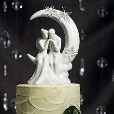 The Written in the Stars Bride and Groom Couple Figurine Wedding Cake Topper with a soft kiss on the hand is whisked away to the romantic dream world of the moon and stars. This bride and groom cake topper. Galaxy Wedding, Moon Wedding, Celestial Wedding, Star Wedding, Wedding 2015, Summer Wedding, Wedding Themes, Wedding Cakes, Wedding Ideas