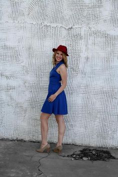 #bluedress #redhat #stylegallery