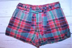 Ralph Lauren Shorts 16 Red Green Plaid Check Tie Waist Girls Cuffed Hem Shorts #RalphLauren #Everyday