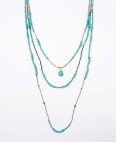 Nakamol Three String Layered Necklace with Tear Drop Stone