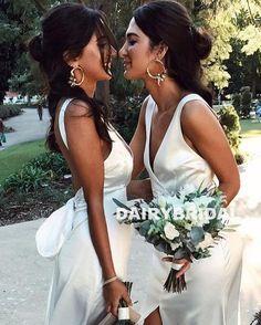 Cheap V-neck Soft Satin Bridesmaid Dress, Sleeveless Backless Sexy Bridesmaid Dress, D976