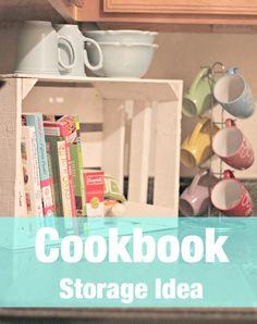 Cookbook Storage Using Crates - Site Title Cookbook Display, Cookbook Organization, Cookbook Storage, Kitchen Storage, Kitchen Pantry, Bookcase Storage, Wooden Crates, Vintage Home Decor, Ideas