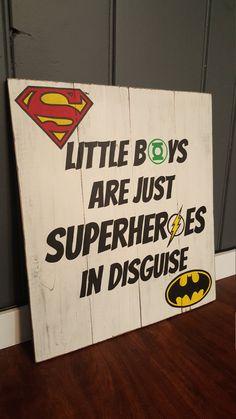Superhero Sign ~ Little Boys are just Superheroes in Disguise ~ Boys Room ~ Superman ~ Batman ~ Flash ~ Green Lantern