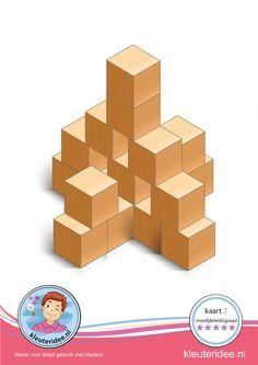 Bouwkaart 7 moeilijkheidsgraad 5 voor kleuters, kleuteridee, Preschool card building blocks with toddlers 10, difficulty 5, free printable.
