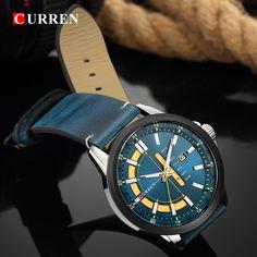 CURREN 8307 Calendar Unique Design Genuine Leather Men Watch Sport Watches, Watches For Men, Men's Watches, Watch Display, Watches Online, Quartz Watch, Leather Men, Bracelet Watch, Men Casual