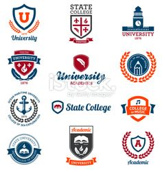 University and college emblems. Set of university and college school crests and , School Badges, School Logo, I School, College School, Cl Design, Graphic Design, Music Colleges, Education Logo Design, Crest Logo