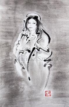 "SUMI-E Kannon artwork Japanese Goddess ORIGINAL painting gallery 36""x15"""