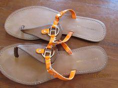 dd14f38406da8 TOMMY HILFIGER Women Size 9 Flip Flops Neon Orange Brown Metal Logo Thong  Sandal  fashion  clothing  shoes  accessories  womensshoes  sandals (ebay  link)