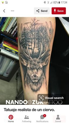 Realistic tattoo of a deer. - Realistic tattoo of a deer. Baby Feet Tattoos, Daddy Tattoos, Bull Tattoos, Body Art Tattoos, Tattoos For Guys, Tribal Tattoos, Stag Tattoo Design, Forearm Tattoo Design, Forearm Tattoo Men