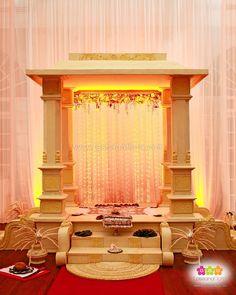 Traditional Kandyan Wedding Poruwa by Lassana Flora Flower Decoration For Ganpati, Arti Thali Decoration, Ganpati Decoration Design, Ganapati Decoration, Backdrop Decorations, Festival Decorations, Flower Decorations, Wedding Decorations, Krishna