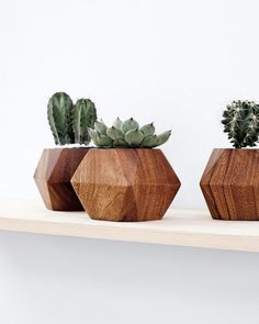 adia hand carved wood planter